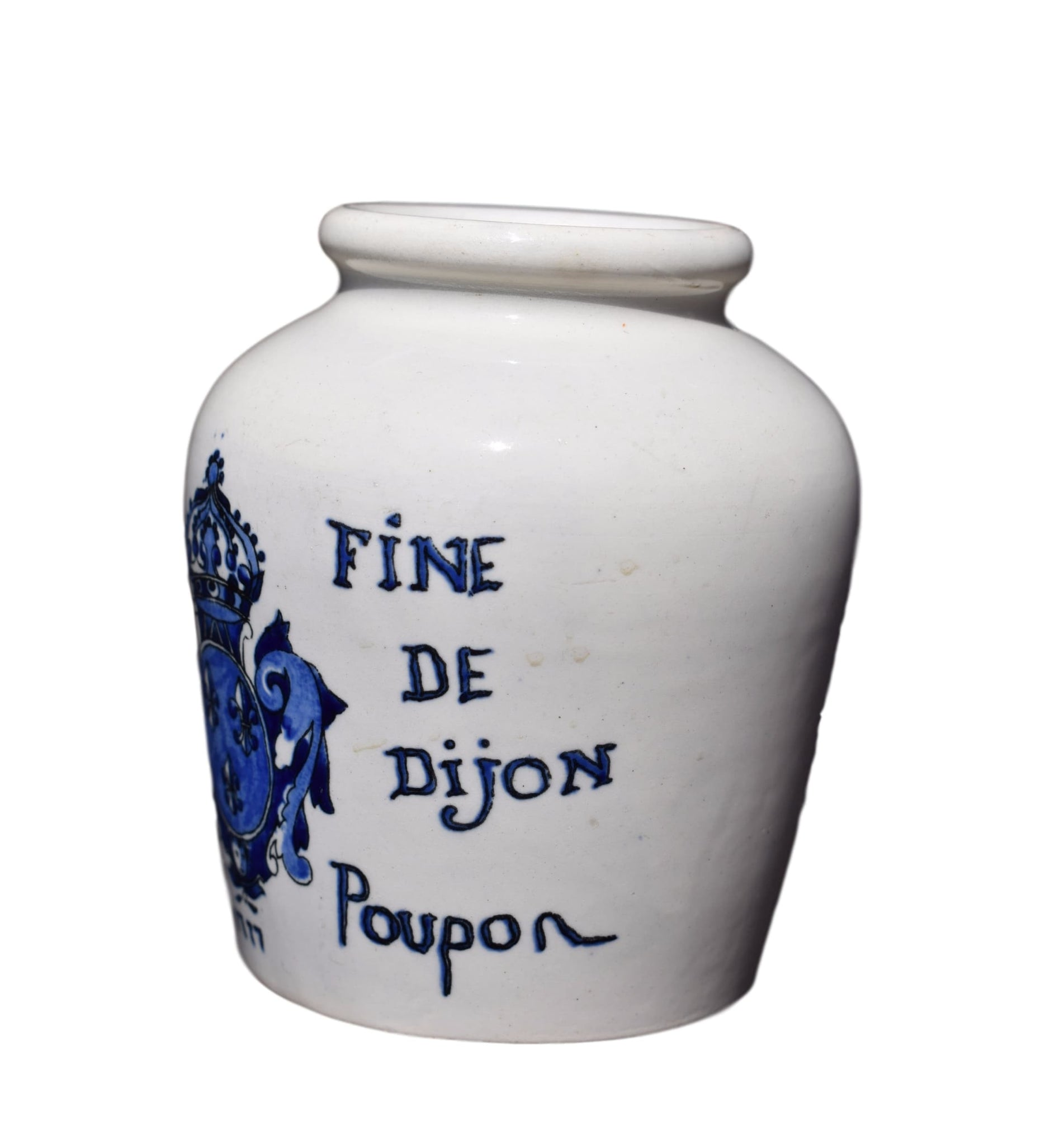 French Antique Digoin Sarreguemines Grey Poupon Mustard of Dijon Pot - Charmantiques