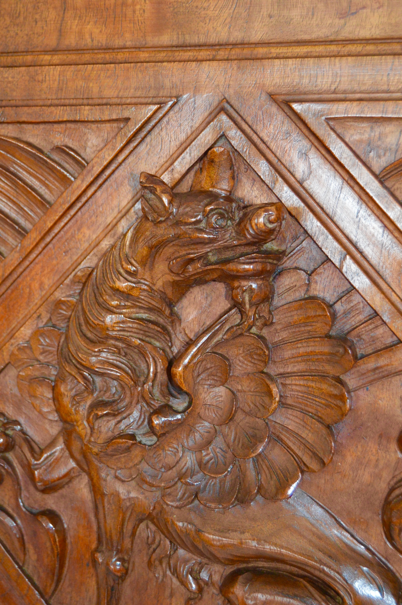 Architectural Carved Wood Griffin Cupboard Door - Charmantiques