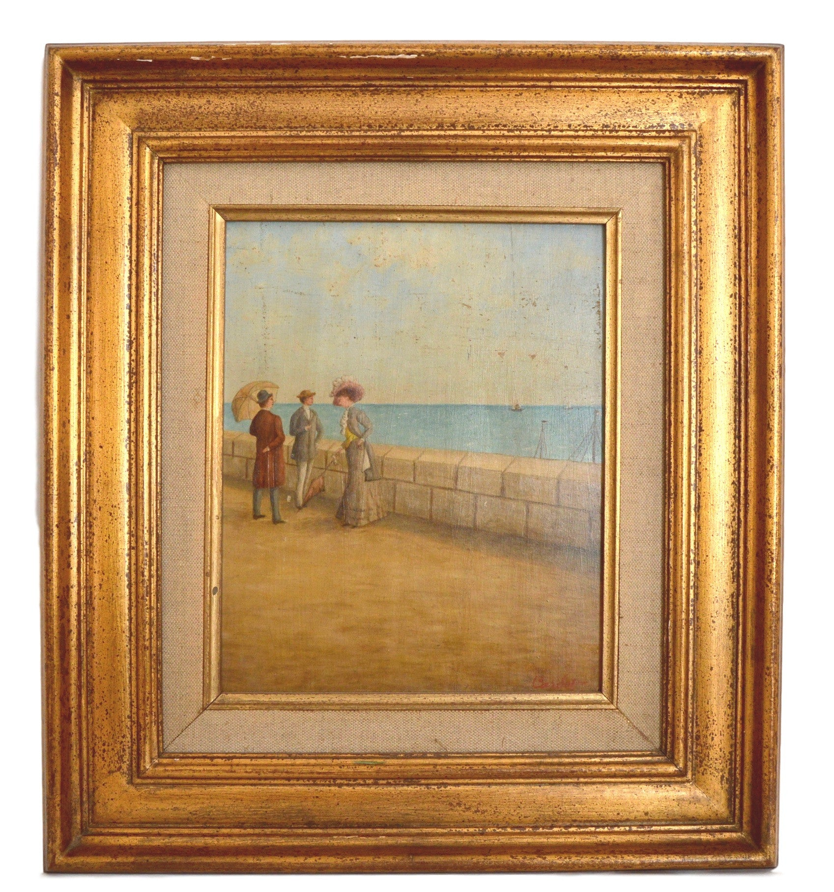 Gilt Frame Waterfront Oil Painting on Board - Charmantiques