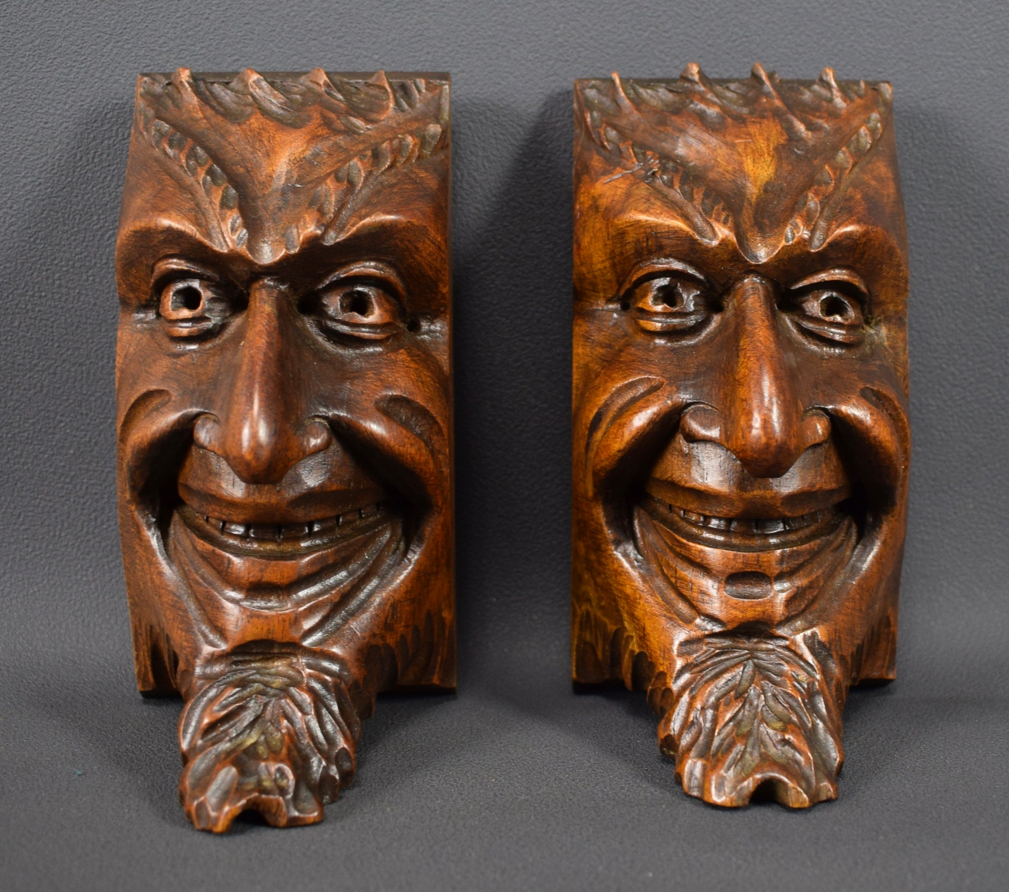 Carved Wood Devil Architectural - Charmantiques