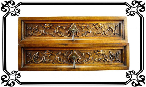 VINTAGE Pair of Antique French Carved Wood Pediment Drawer Pull Front