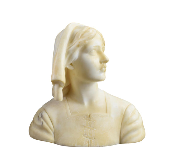 Joan of Arc Hand Carved Marble Sculpture Bust By Cipriani