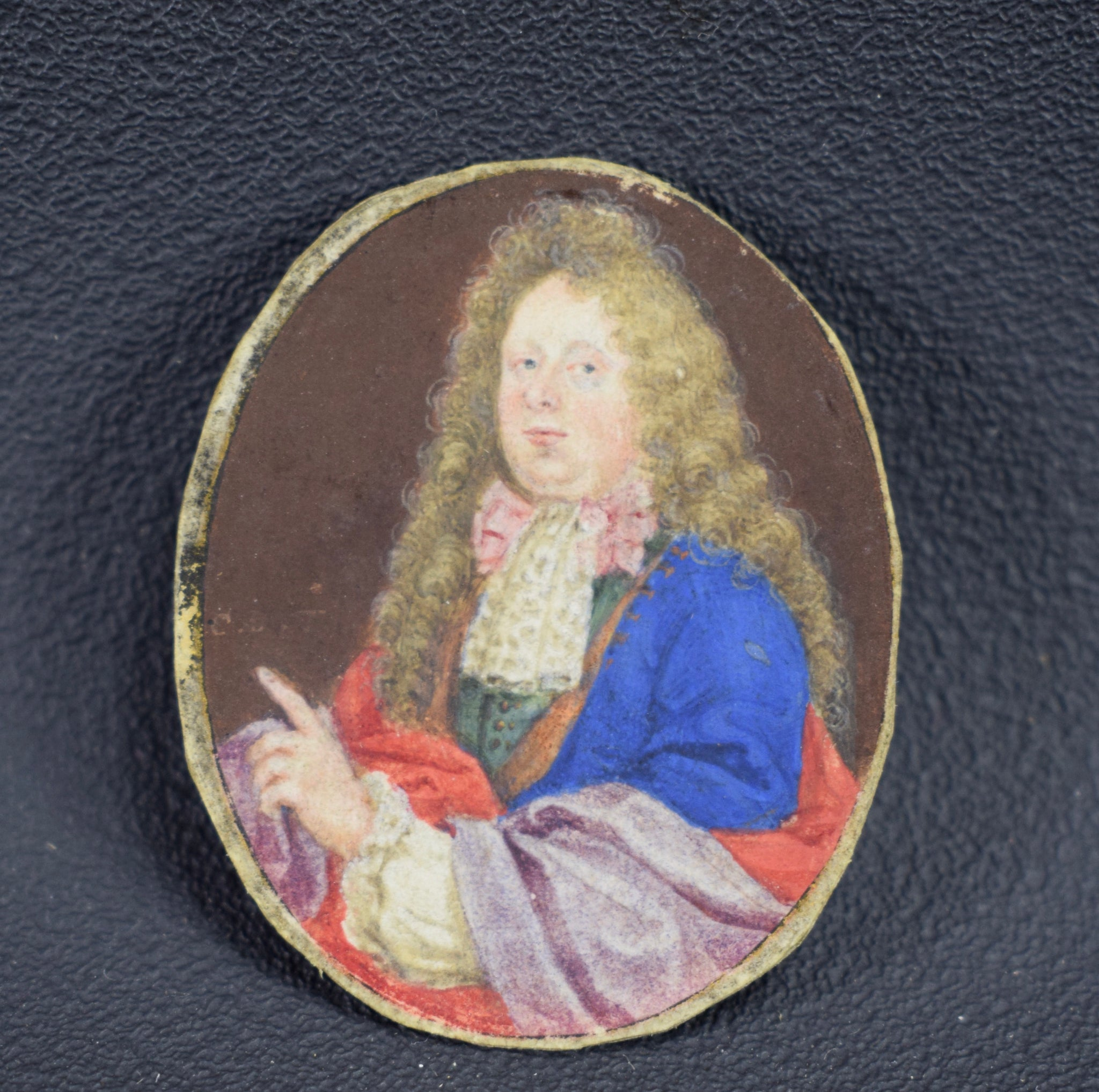 French Antique Miniature Painting on Paper Nobleman 18th 19th Century