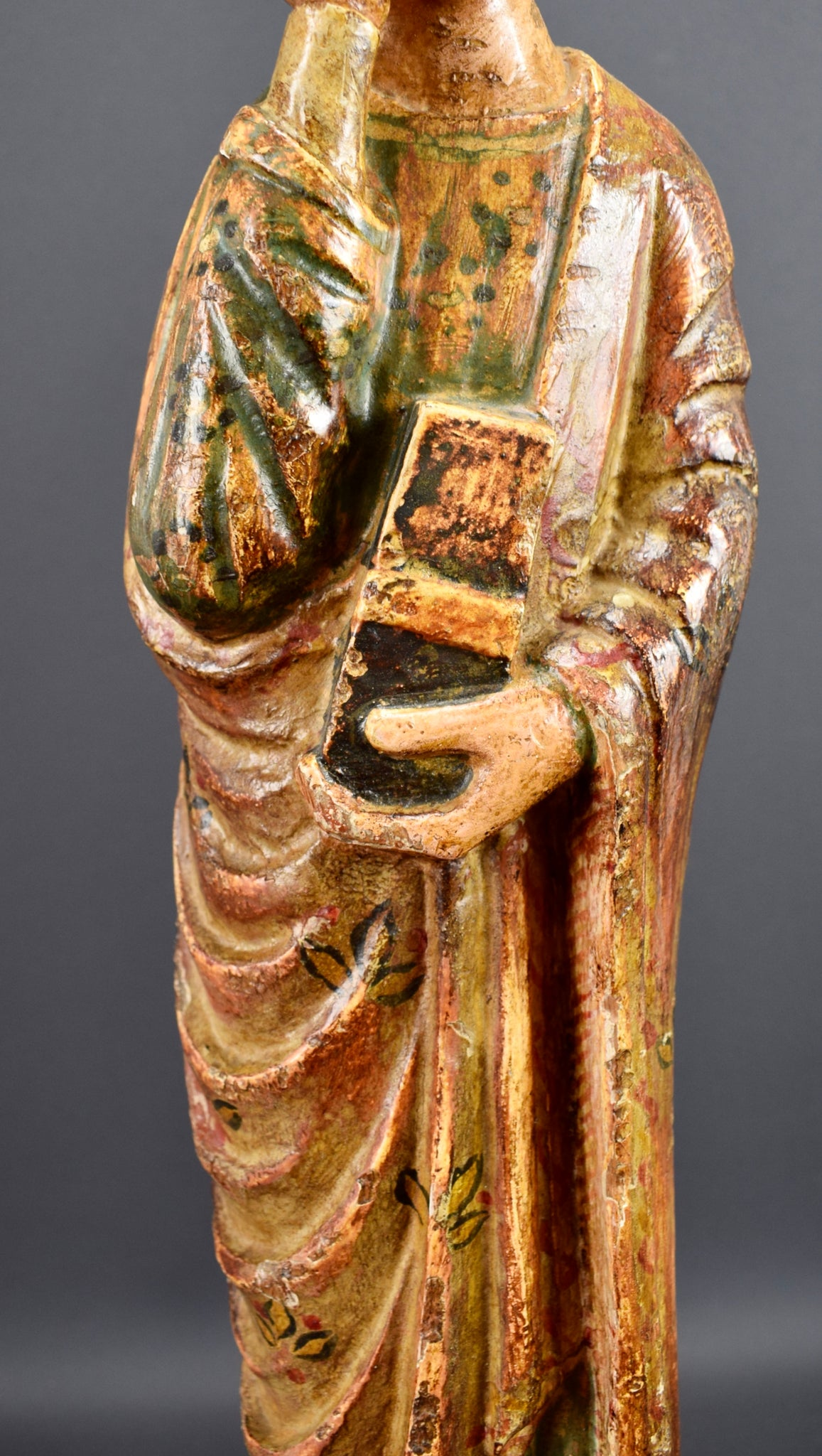 Rare Antique Religious Saint John of Calvary  Hand Carved Painted Wood Sculpture