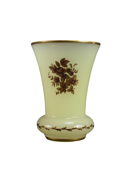Vintage French Yellow Milk Opaline Glass Vase,  Decor Home Design