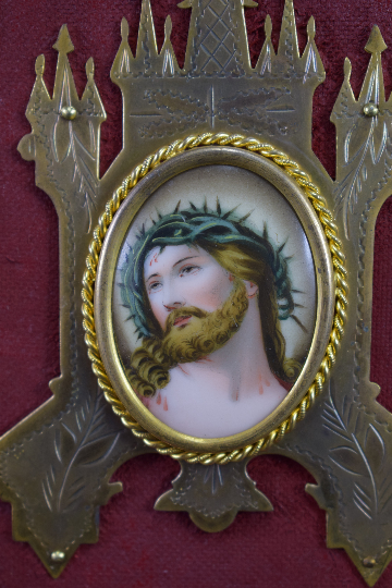 French Religious Holy Face of Jesus Painting Holy Water Font  19th.c