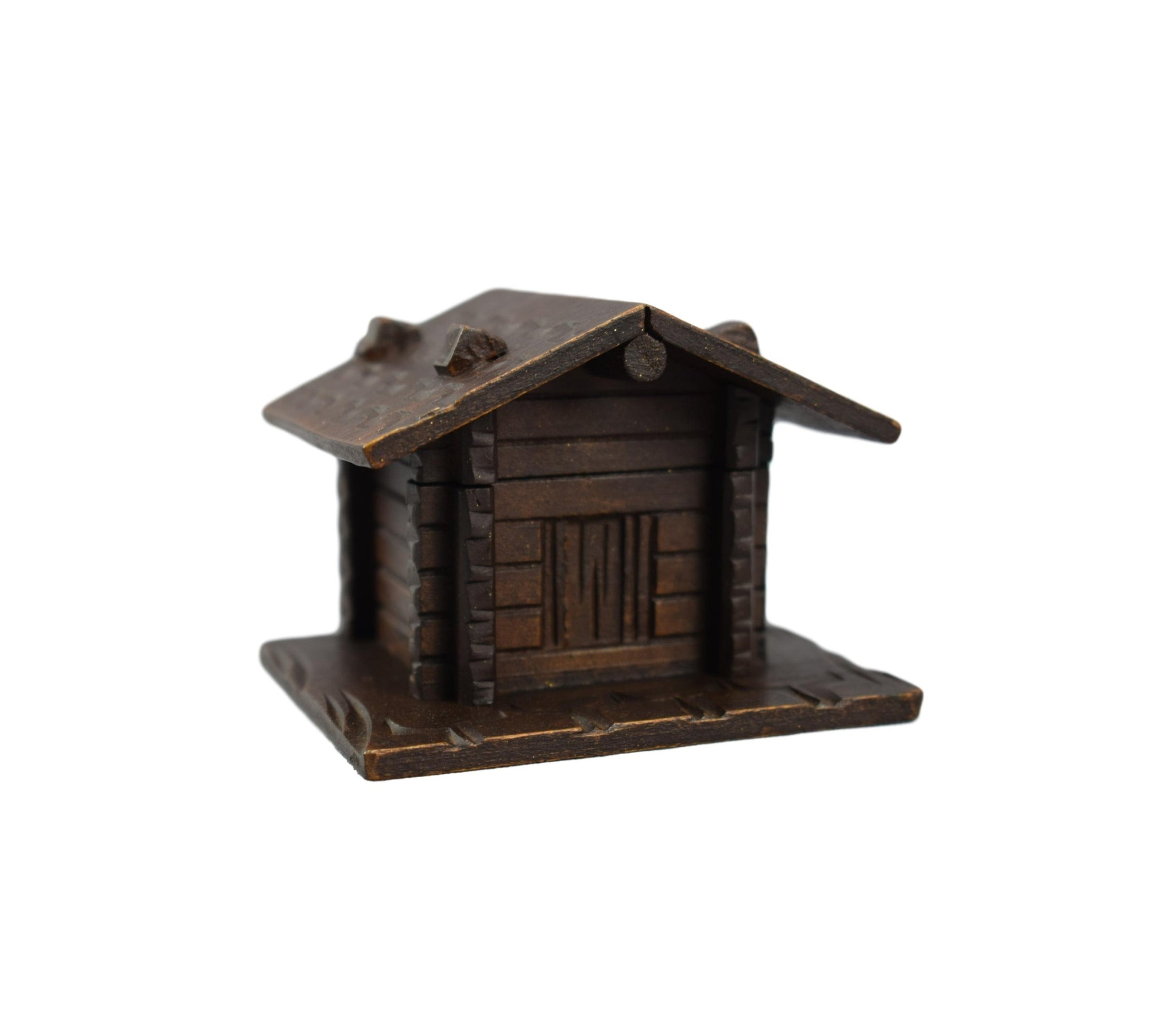 Black Forest Carved Wooden Swiss Chalet - Charmantiques