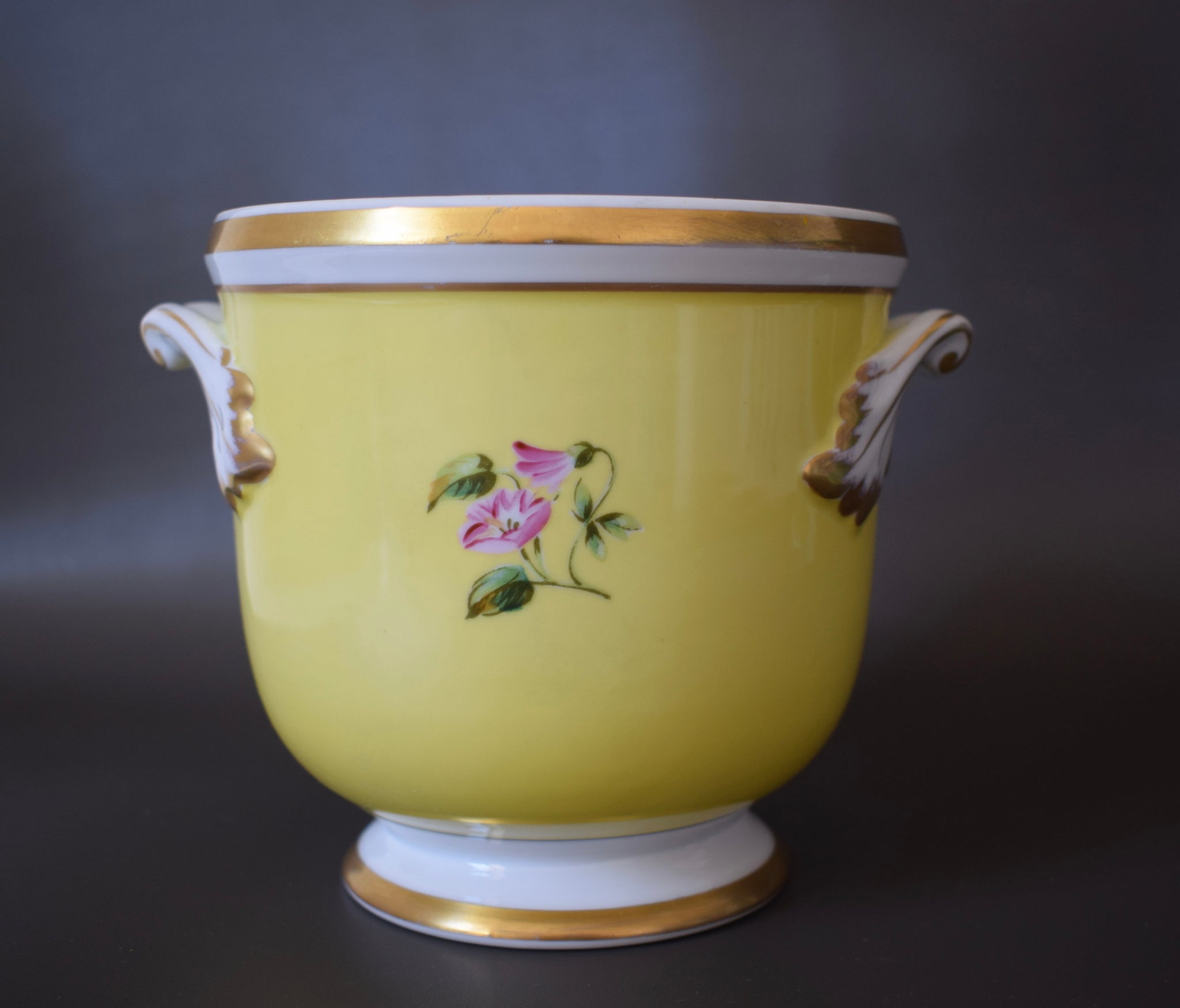 Vintage Yellow Old Paris Style Porcelain Jardiniere Cache Pot with Bunch of Flowers by Vista Alegre Portugal