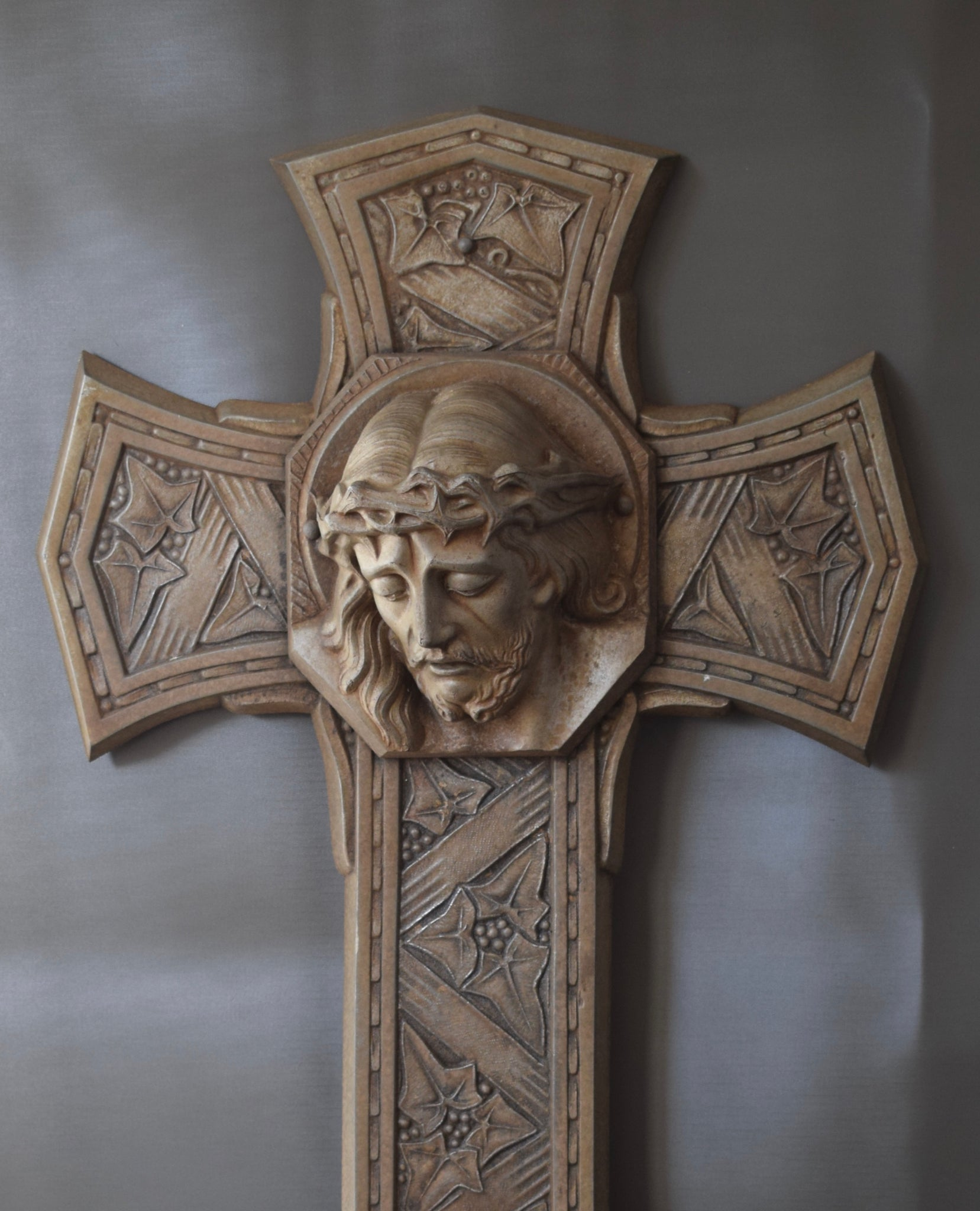 "Large French Art Deco Modernist Metal Wall Cross Crucifix with Holy Face of Jesus Christ Portrait 26"" High"