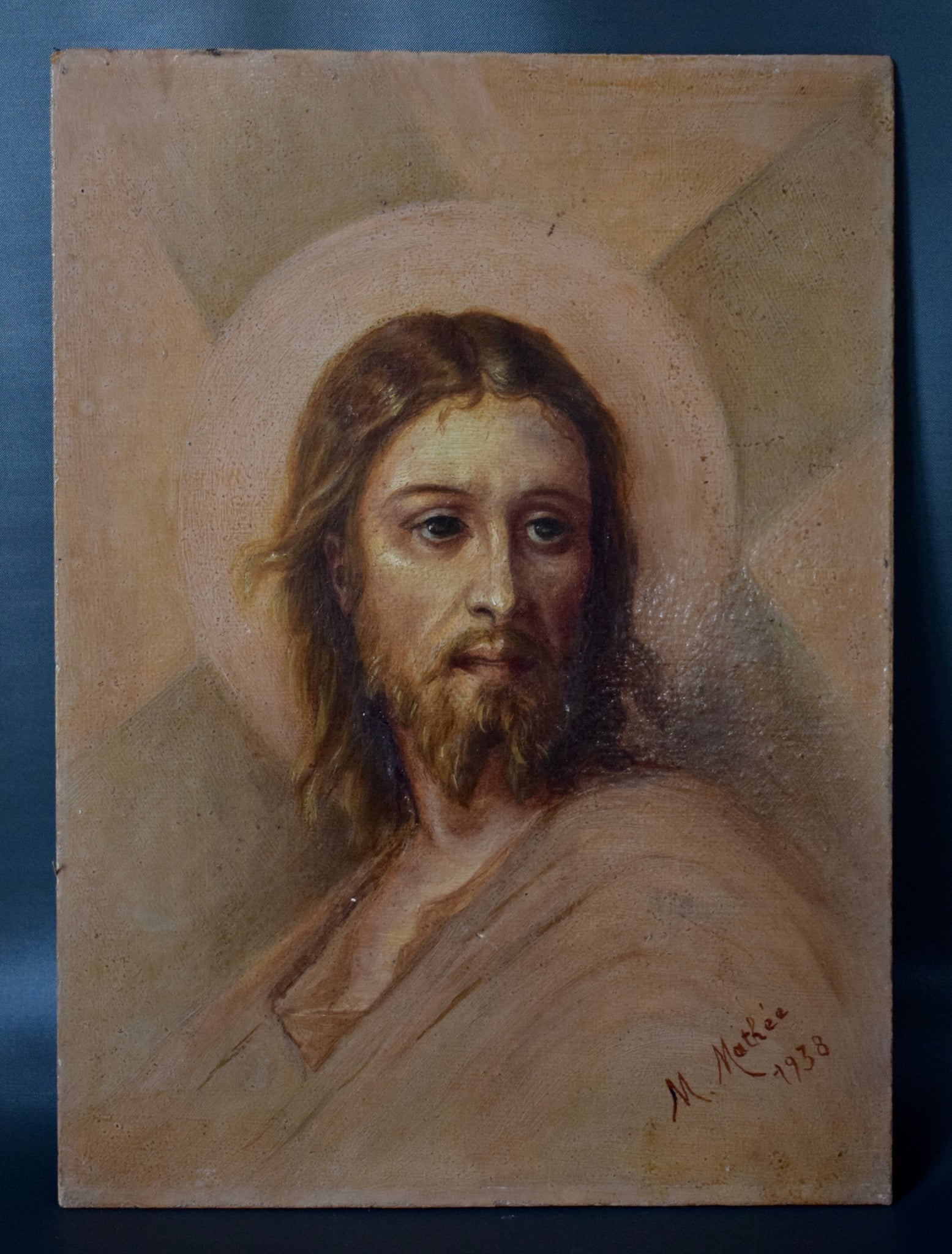 Antique French Religious Oil Painting After Lazerges of Jesus Christ Portrait Jesus Defying The Crowd Dated 1938 Signed