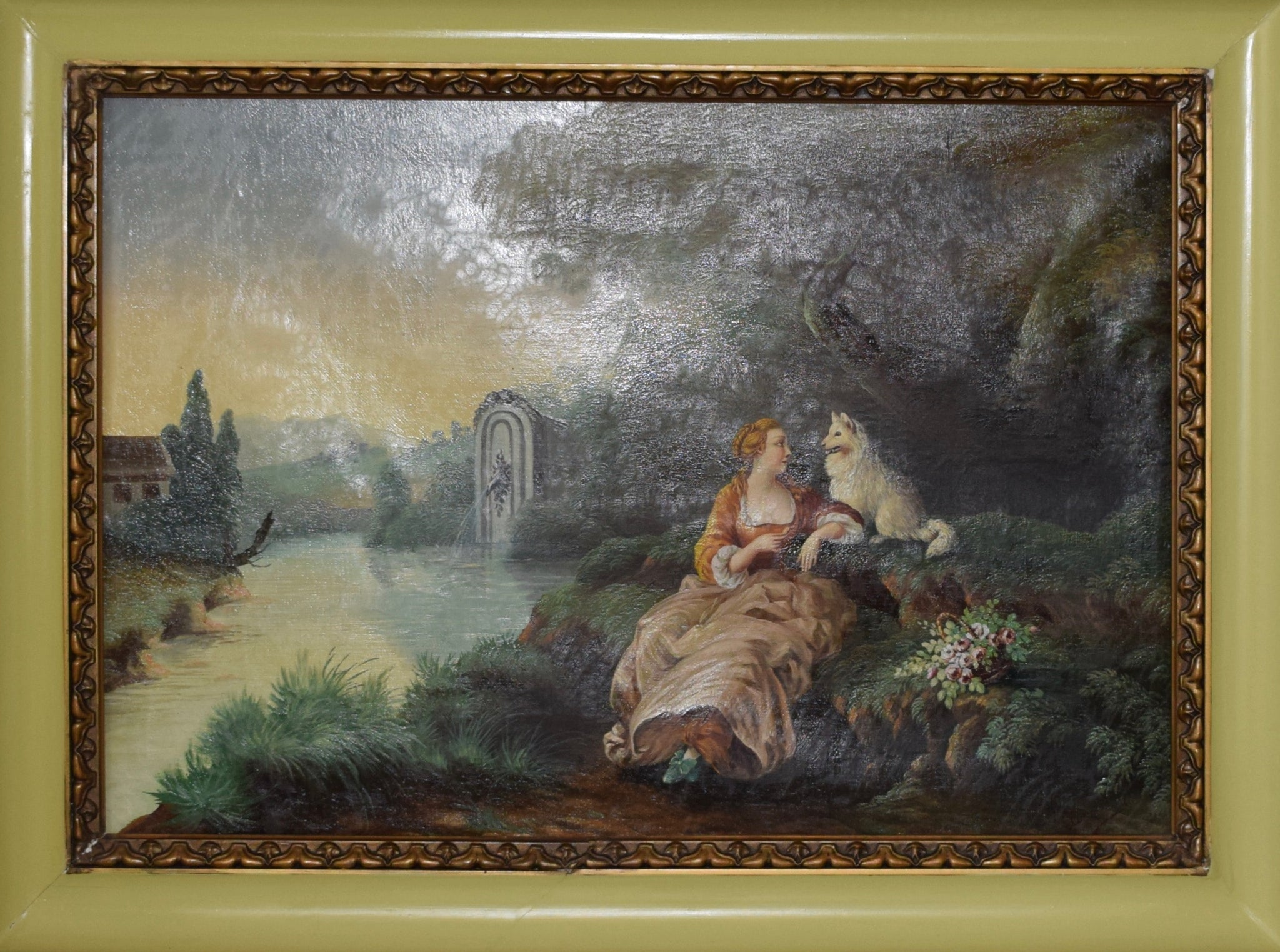 Romantic Oil Painting with Dog - Charmantiques