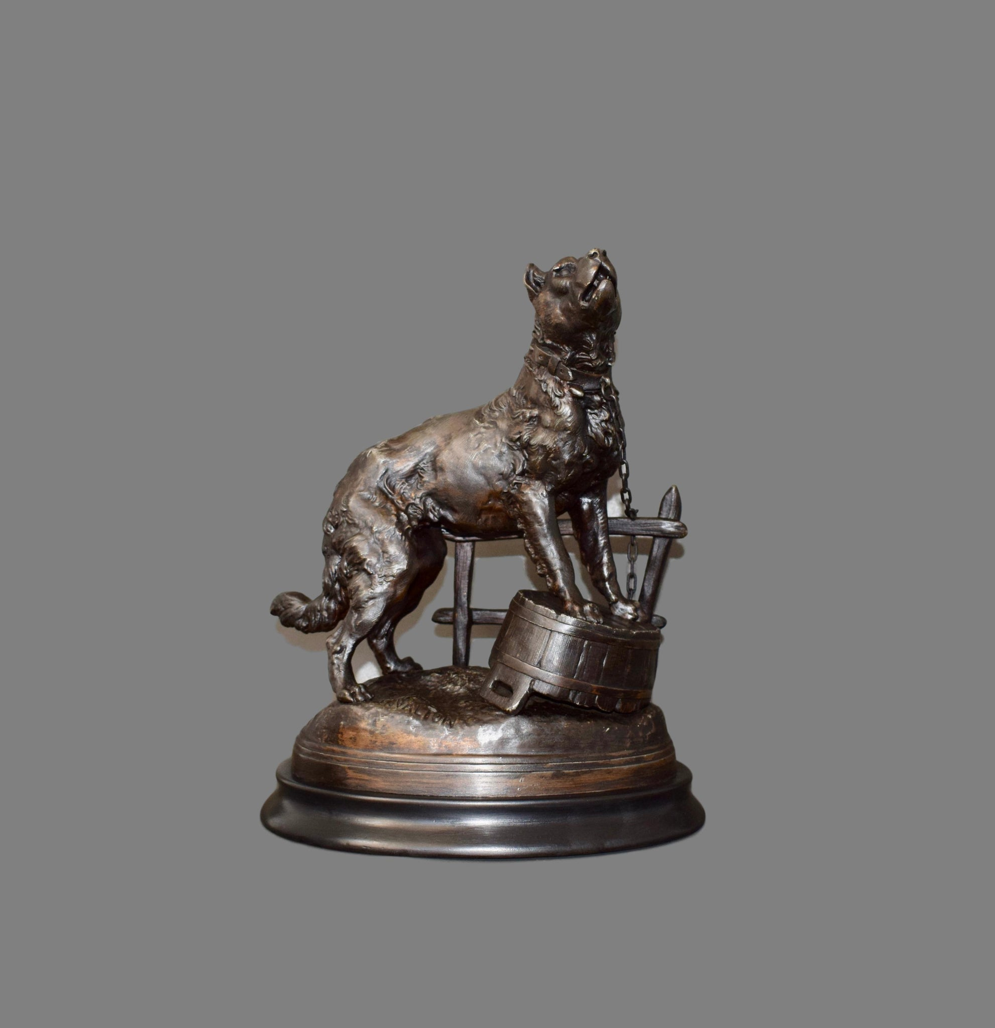 Antique French Bronze Patina Spelter Dog Sculpture Figurine Statue of a Howling Mastiff Fence by Charles Valton Animalier Style
