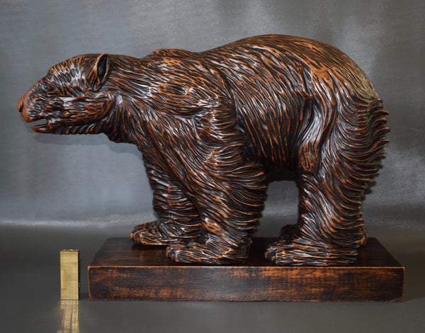 Rare Antique French Large Black Forest Hand Carved Wood Bear Statue Sculpture Signed Cristaldi