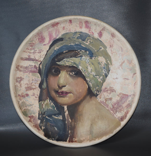 J Massier Vallauris French Hand Painted Terracotta Pottery Wall Plate Charger of a Orientalist Young Girl Woman Portrait Painting