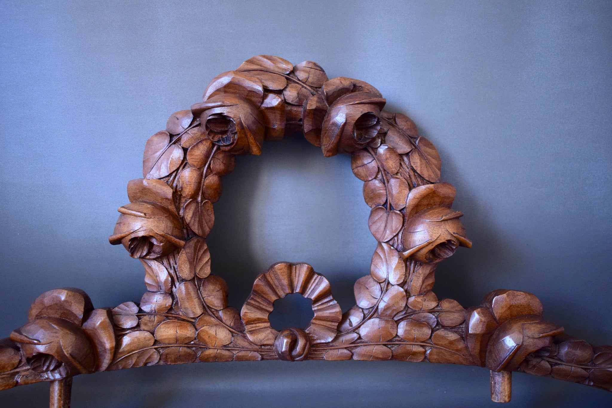 French Architectural Antique 19th.c Hand Carved Walnut Wood Pediment Cornice of Wreath of Roses for Above Door Decor