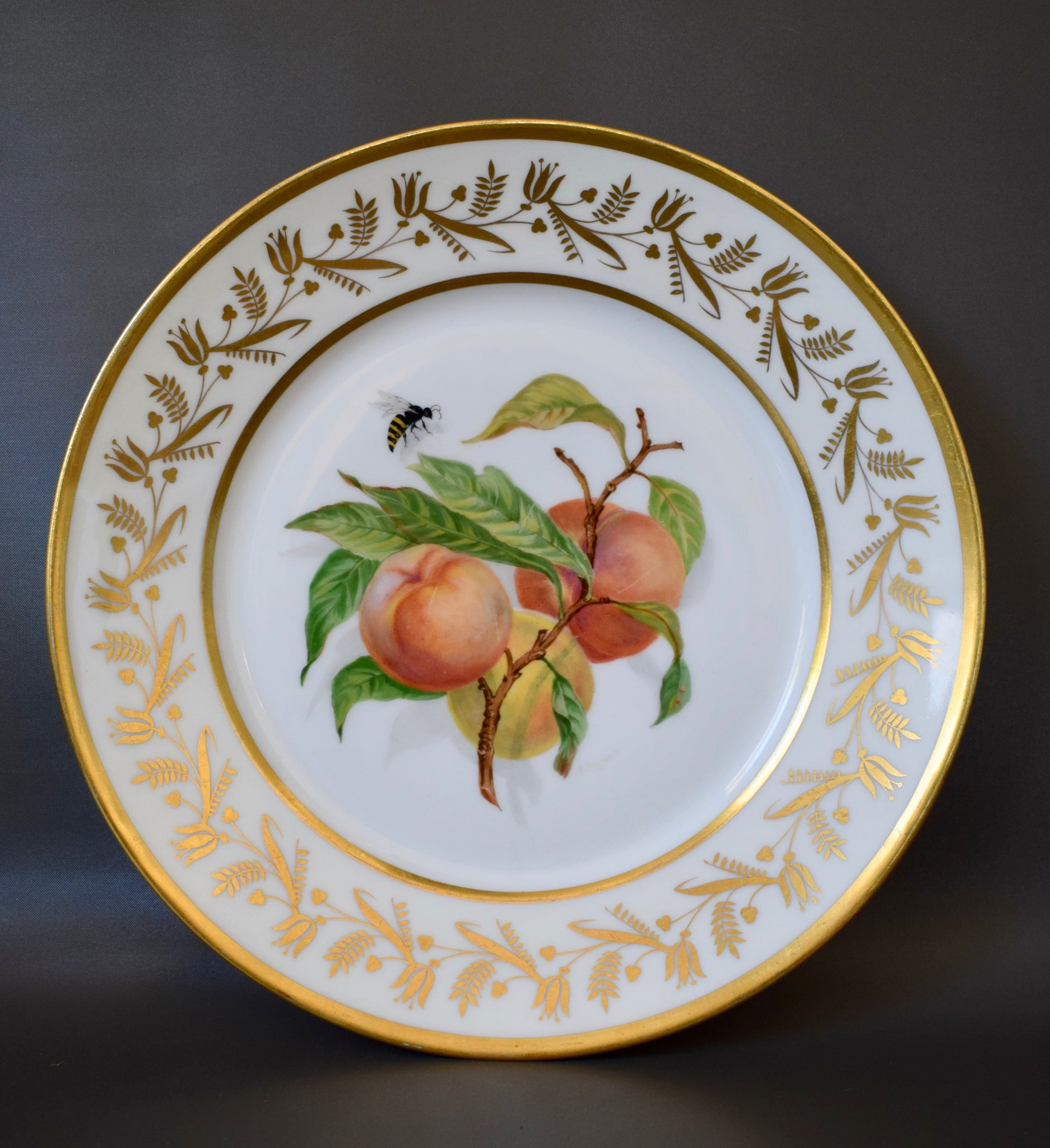 Vintage French Limoges Porcelain Hand Painted Still Life Fruits Peach Insects Plate Signed