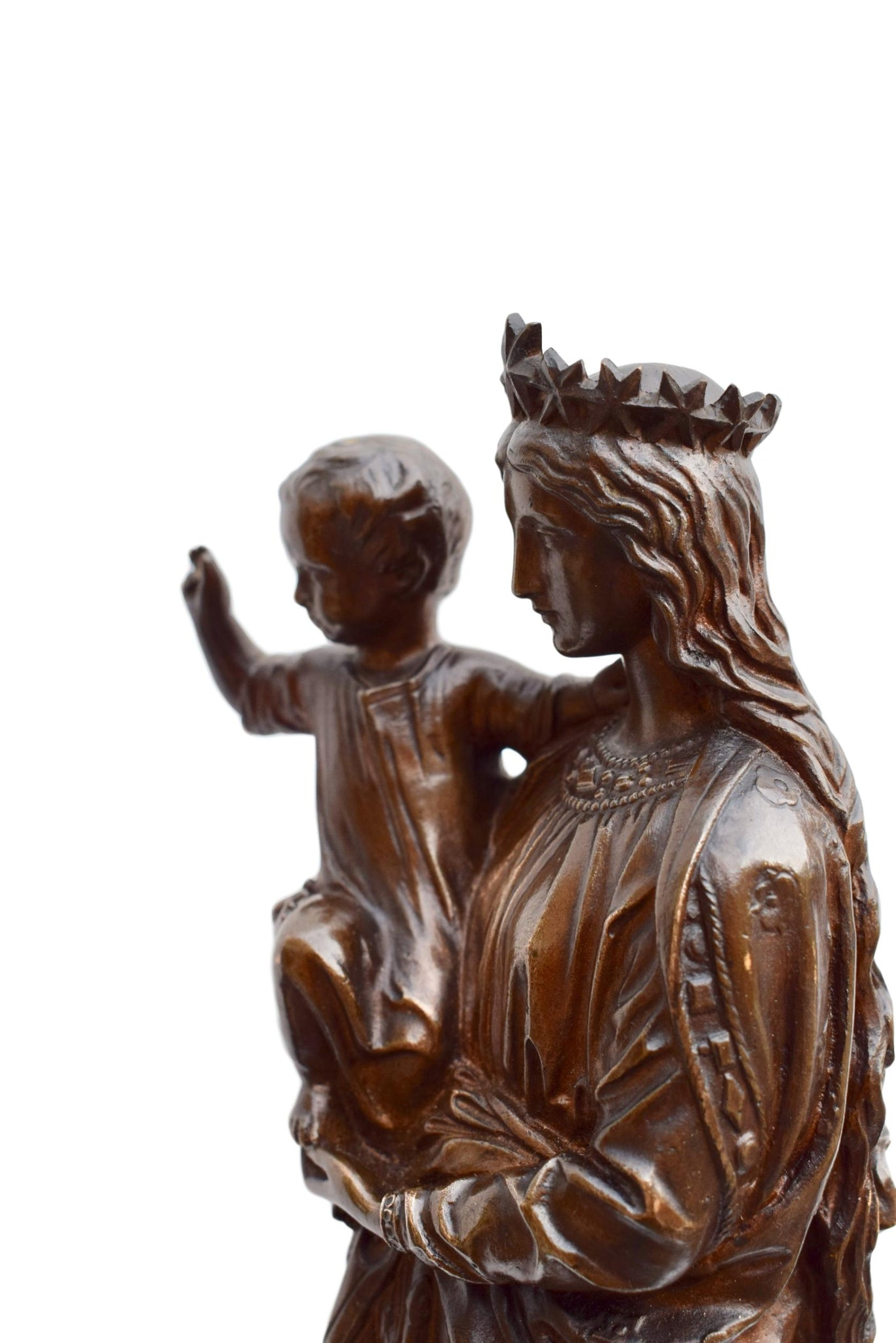 Notre Dame de France Madonna and Child Bronze Statue by Jean Bonnassieux