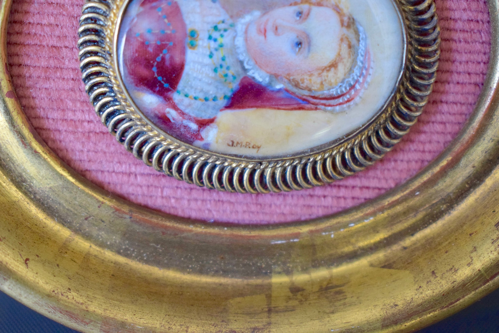 18th.C Lady Miniature Portrait - Charmantiques