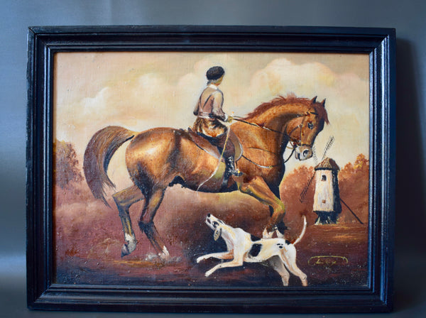 Antique French Oil Painting on Canvas Hunting Picture Hunter Horse and Hunting Dog Framed