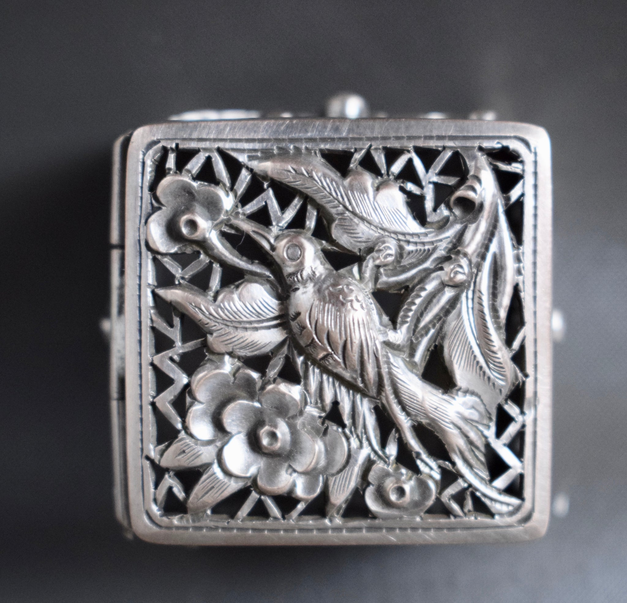 Sterling Silver Pill Box - Charmantiques