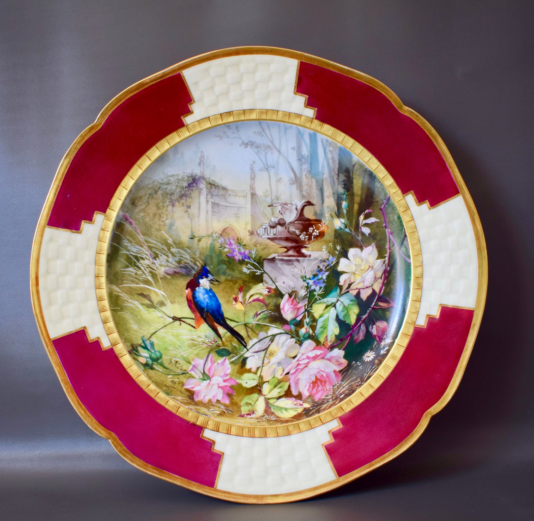 Hand Painted Porcelain Wall Charger - Charmantiques