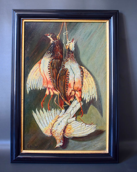 Antique French Hunt Trophy Oil Painting Game Birds