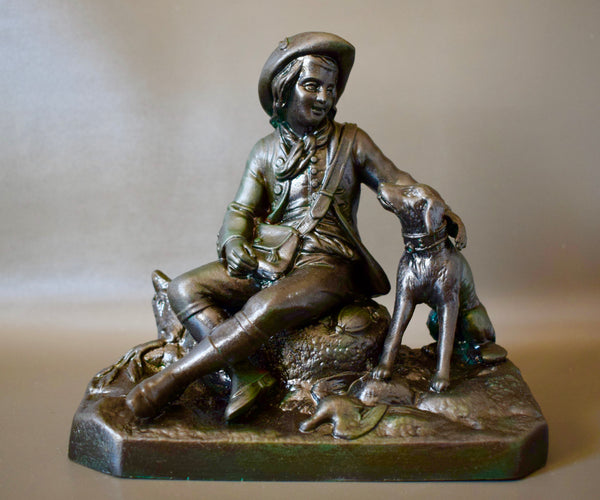 Antique French Hunter and his Dog Sculpture Statue