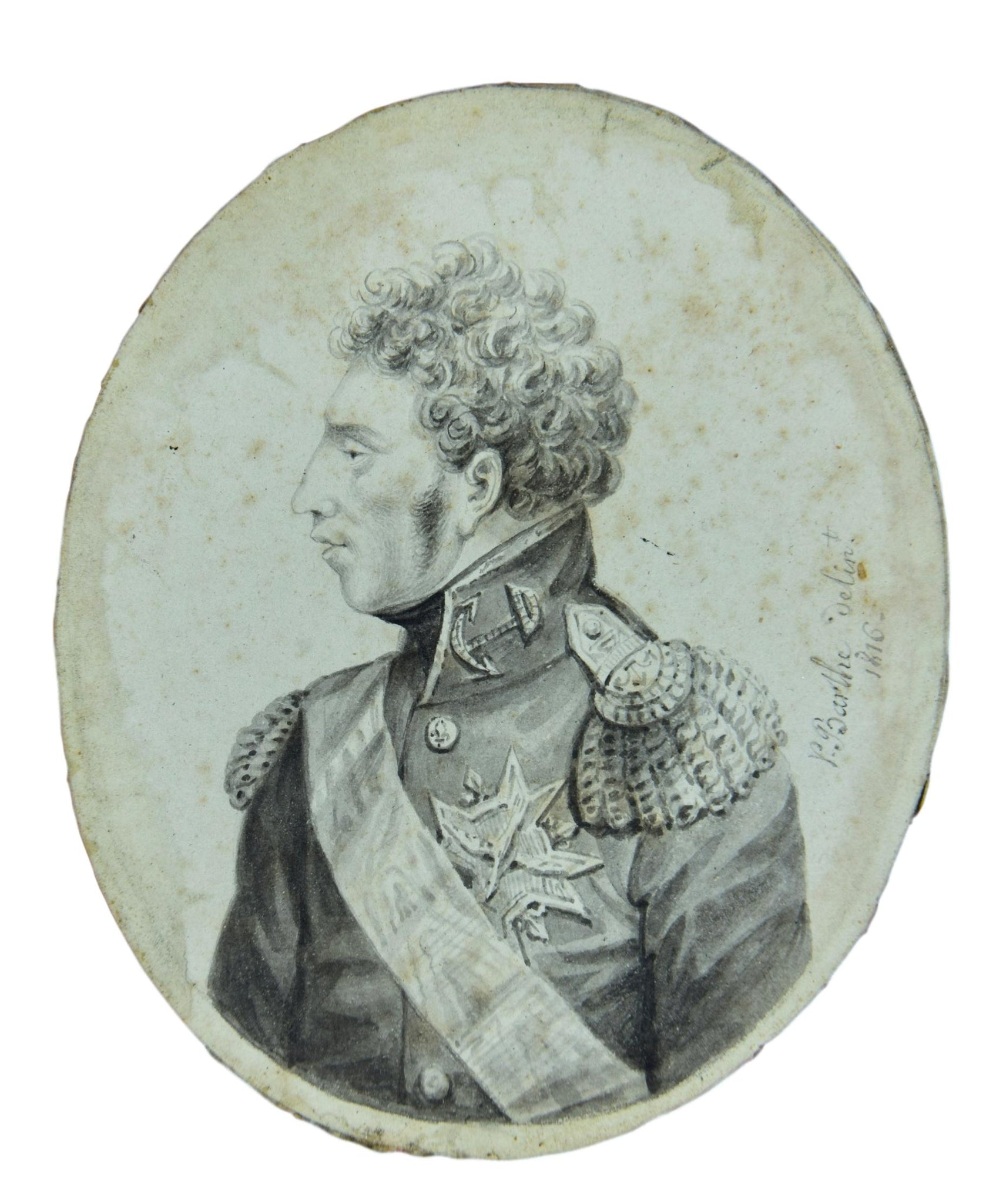 Miniature Drawing Marshal 1816 - Charmantiques