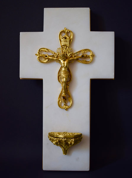 Gold & White Holy Water Font - Charmantiques