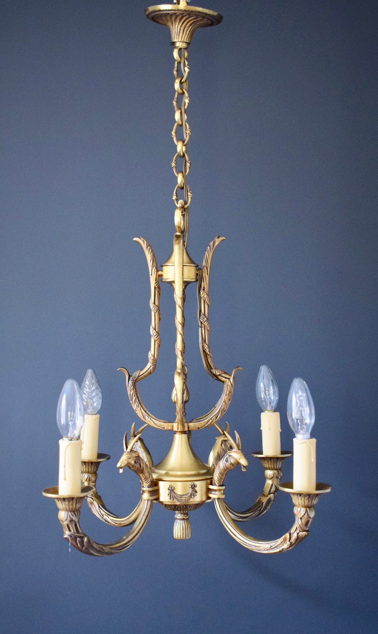 Louis XVI Style French Bronze Chandelier with Ram Heads 4 Lights