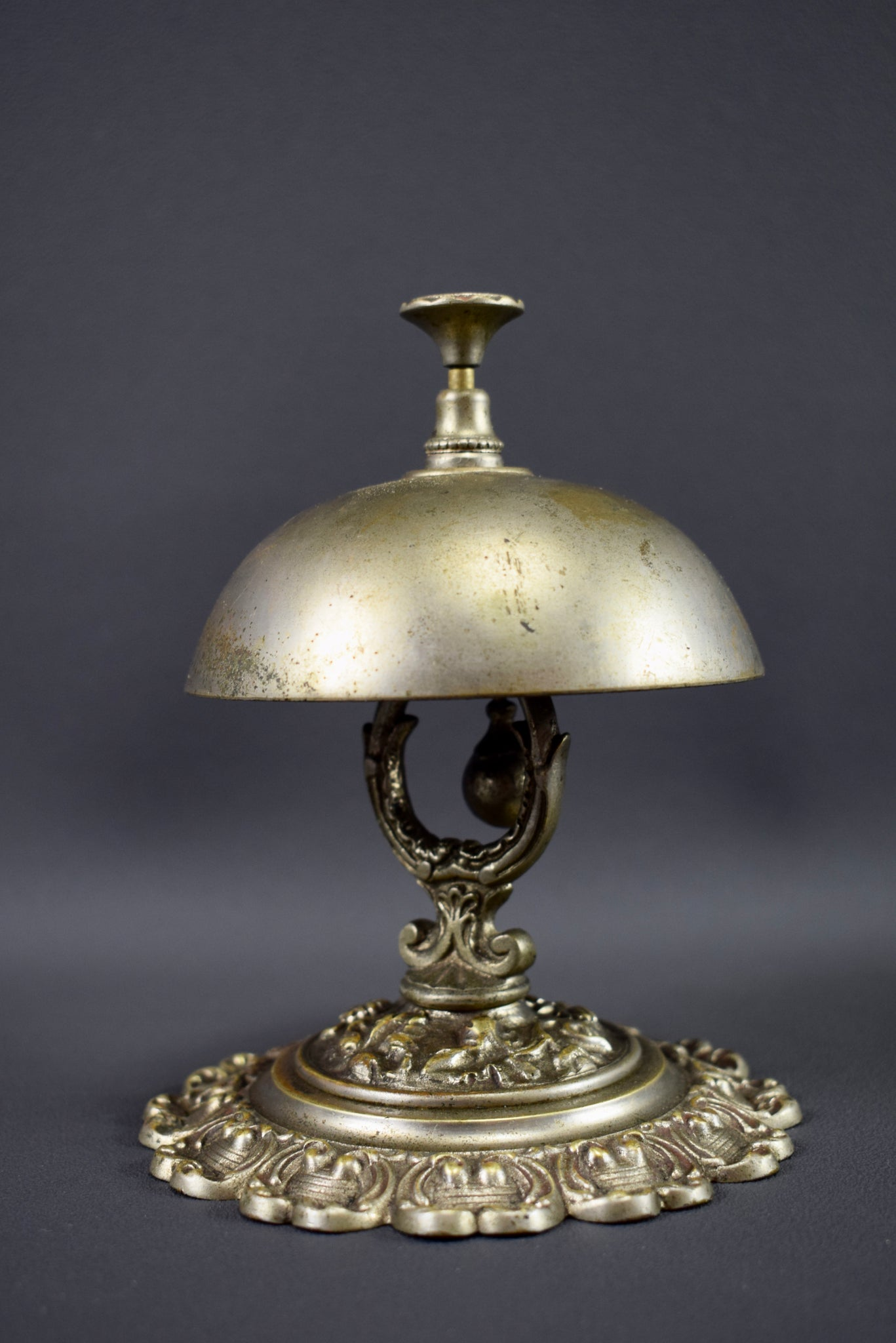 Silver Bronze Table Ring Bell French 19th Century Bell France Hotel Kitchen