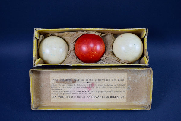French Antique Set of Billiards Balls Que Balls Red Pool Balls