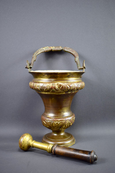 Antique French Bronze Church Holy Water Bucket Aspergillium for Church Ritual