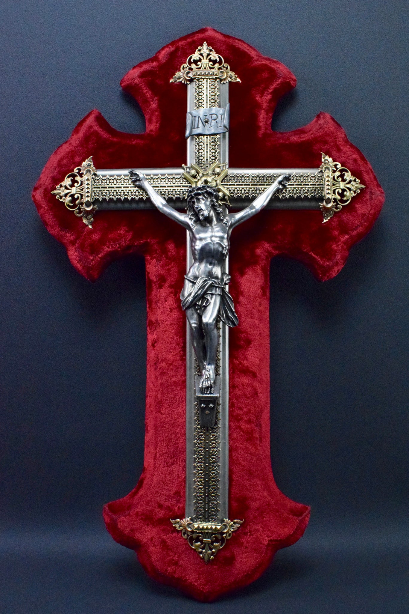 Red Velvet Wall Crucifix - Charmantiques