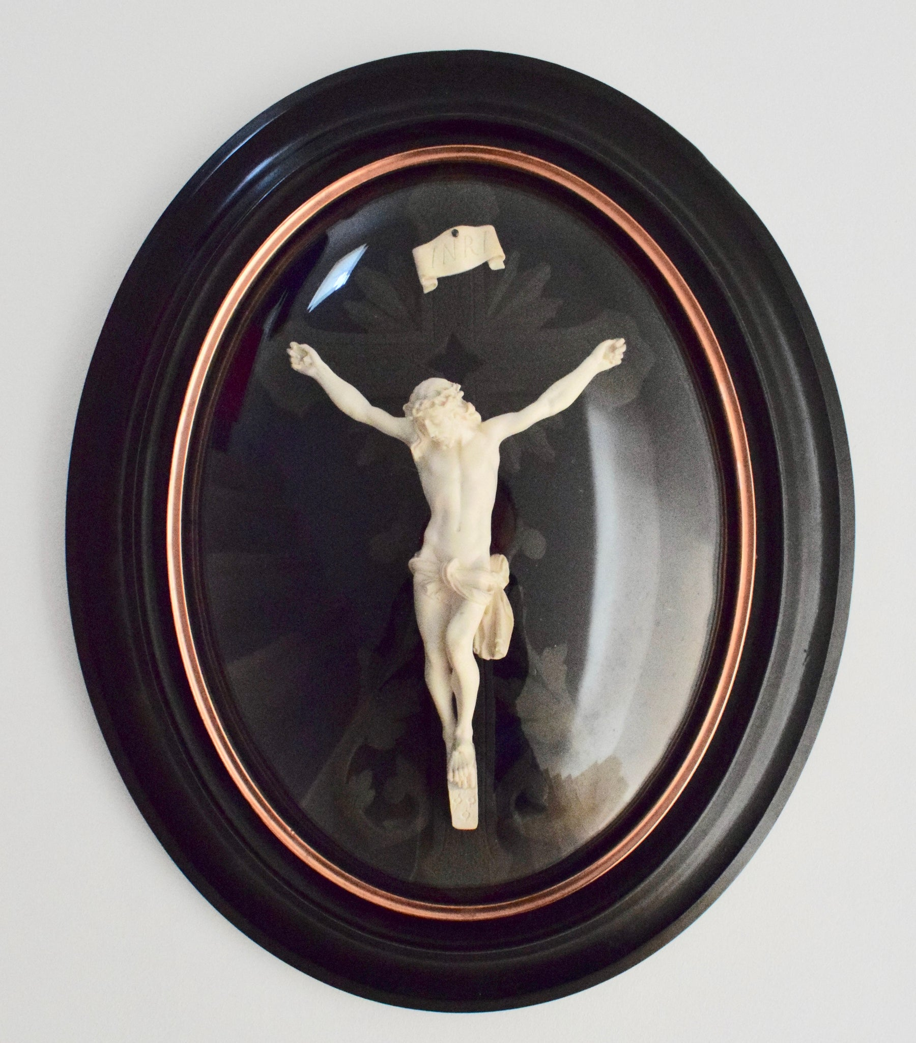 Crucifix Under Glass Frame - Charmantiques
