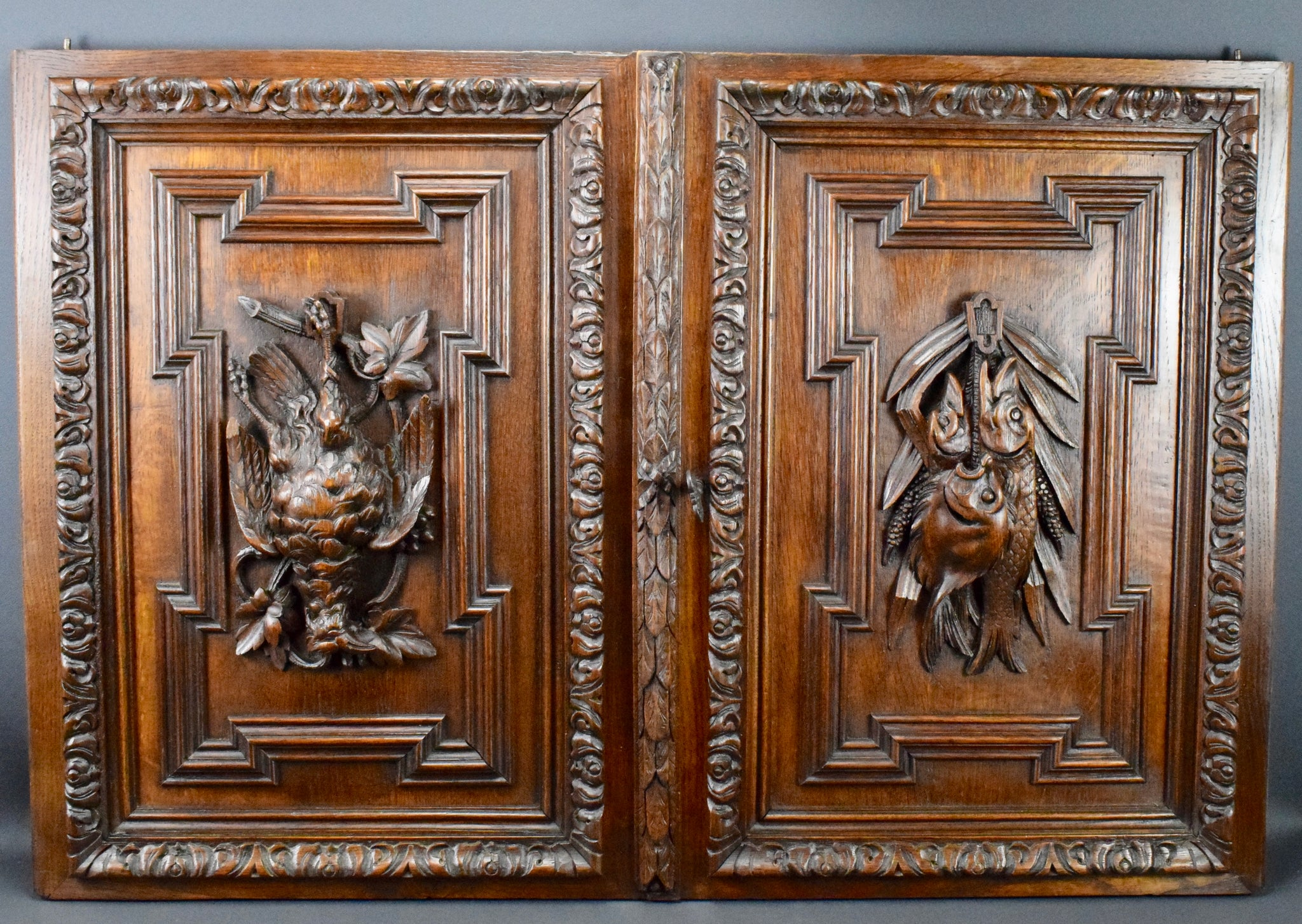 Pair of Black Forest Doors - Charmantiques