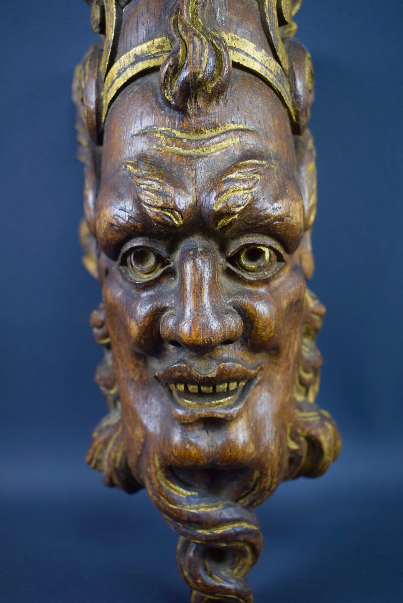 Large Carved Wood Face - Charmantiques