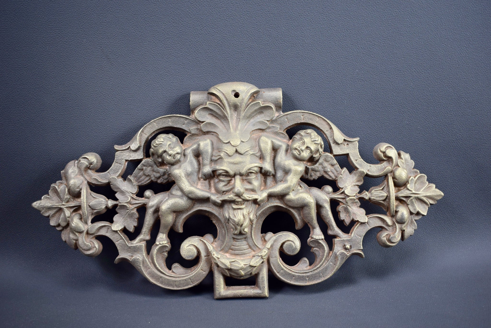 Cast Iron Pediment with Angels - Charmantiques