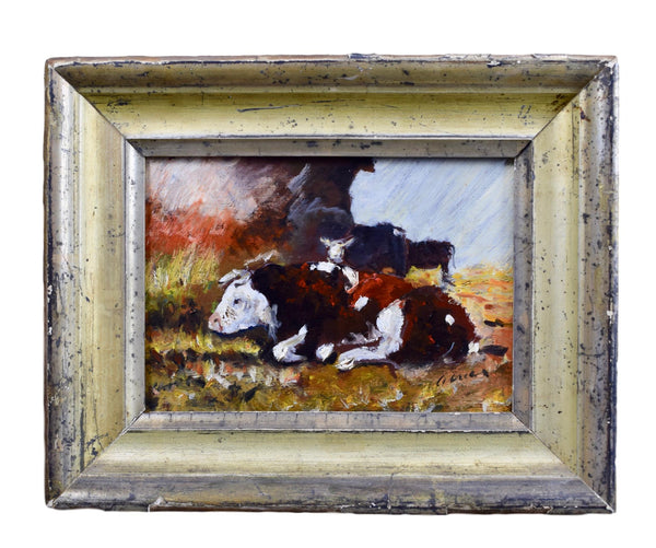 French Impressionist Oil Painting of Cows Barn Framed
