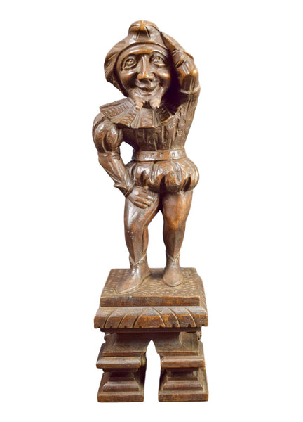 French Antique Hand Carved Wood King Fool Statue Sculpture Supports