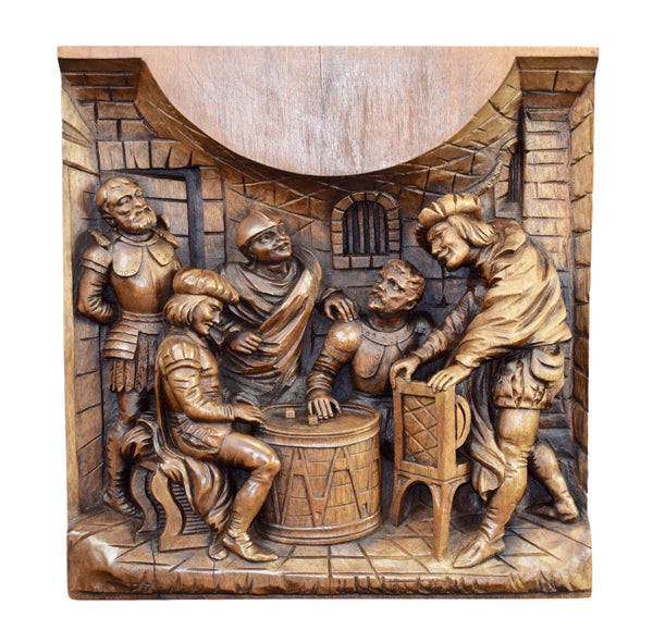 French Antique Large Deep Hand Carved Wood Panel Game Player Middle Ages