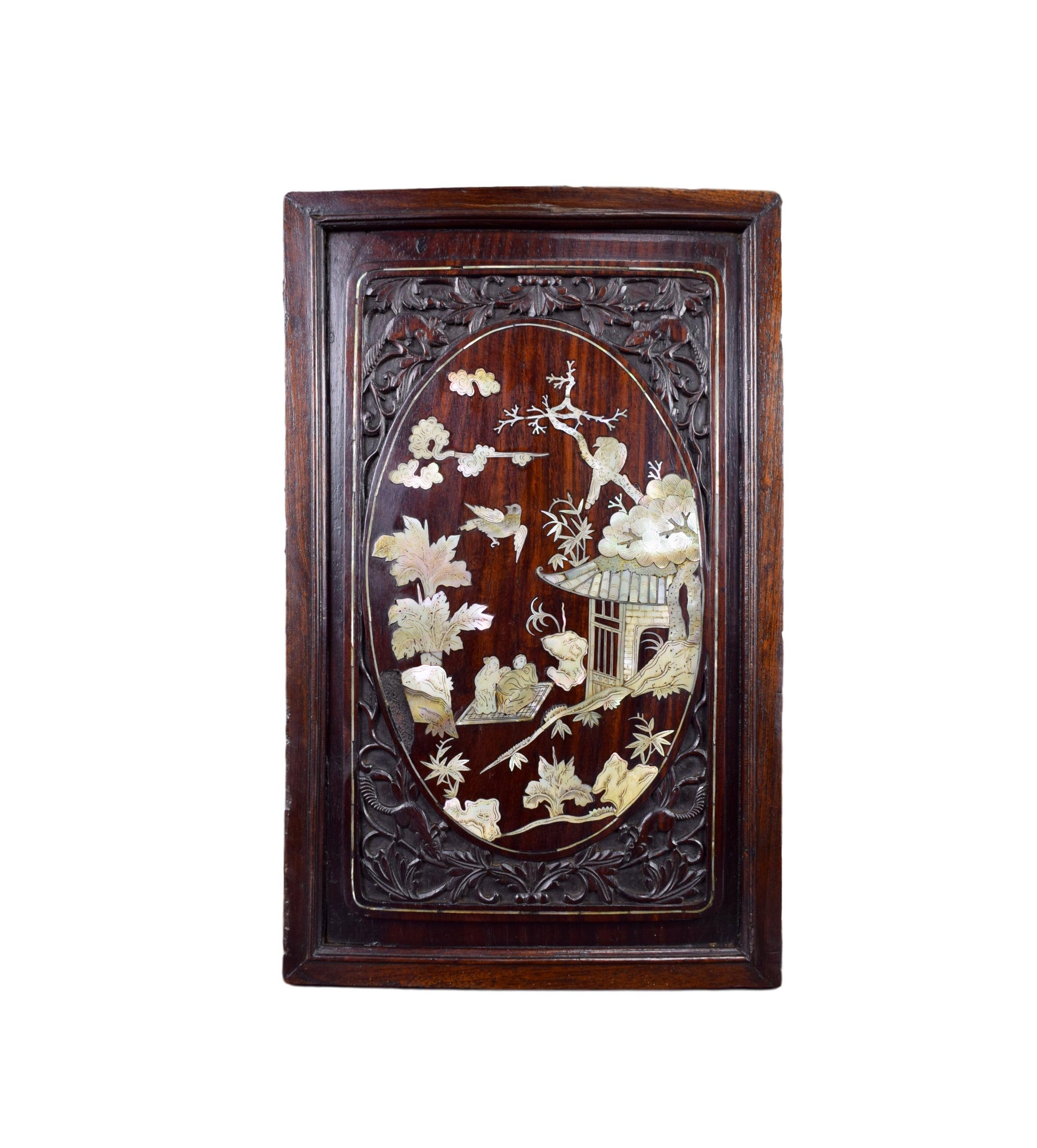 Antique Chinese Carved Wood and Mother of Pearl Inlaid Wall Panel 19th.C Asian Wood Art Vietnamese