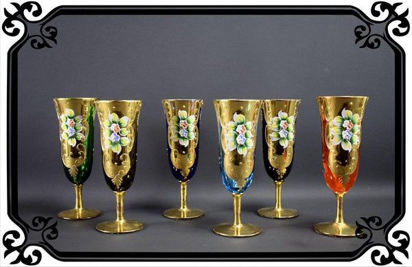 Set of 6 Vintage Murano Gold & Multicolored Venetian champagne glasses