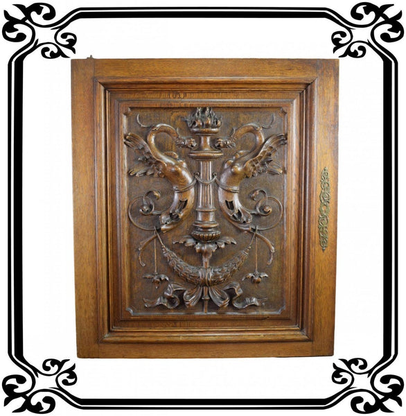 Antique French Oak Wooden Carved Door Gothic Chimera 19th