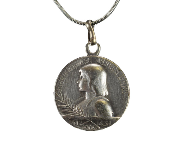 Saint Joan of Arc House Medal Pendant Necklace With Sterling Silver Chain
