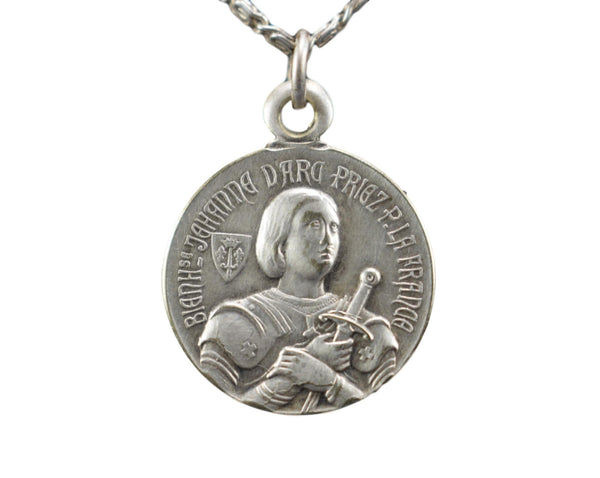 Antique French Saint Joan of Arc Silver Medal Pendant Charm Gods Warrior Amulet Necklace WWI
