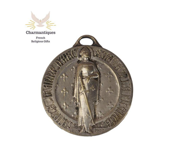 Saint Joan of Arc Medal, Large French Religious Pendant Charm Dated 1944