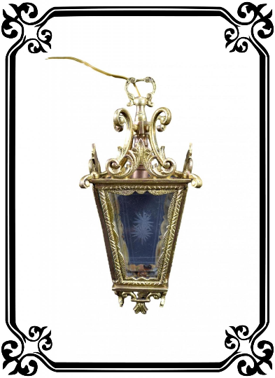 French Antique Small Bronze & Cut Glass Entry Lantern