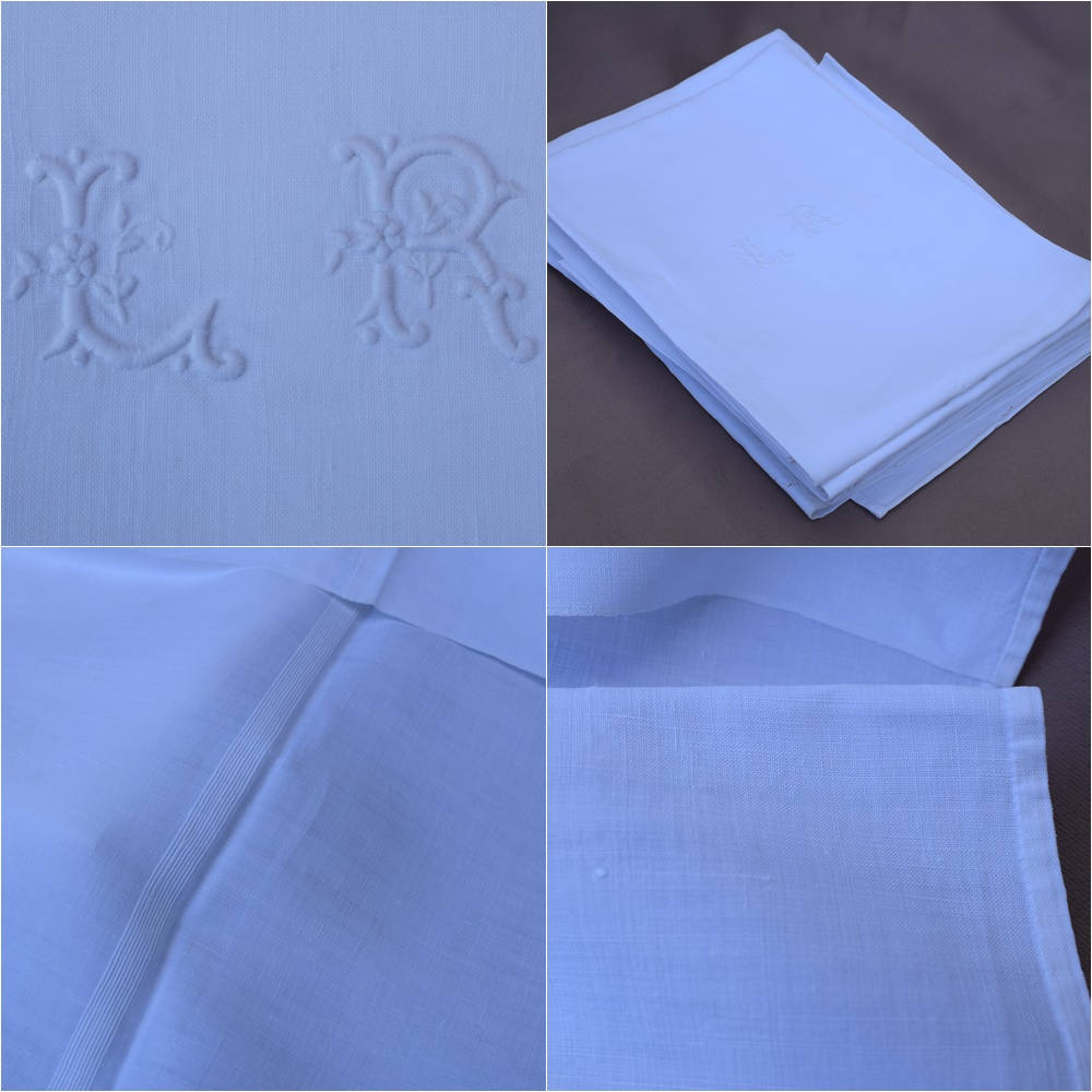 Set of Six Finest Linen Very Large Napkins - Charmantiques