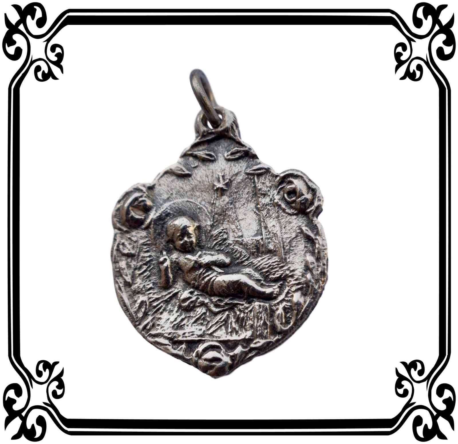 Sterling Silver Baby Jesus Medal - Charmantiques
